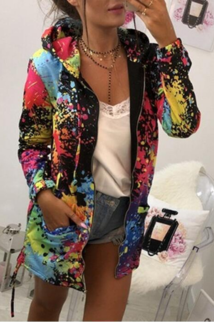 Print Splash Multicolor Hooded Jacket