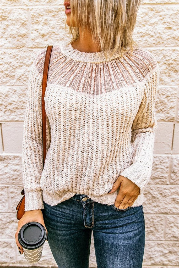Lace Patchwork Round Neck Sweater