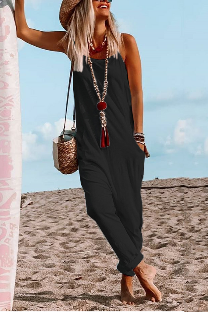 Sleeveless Pockets Solid Color Harem Jumpsuit