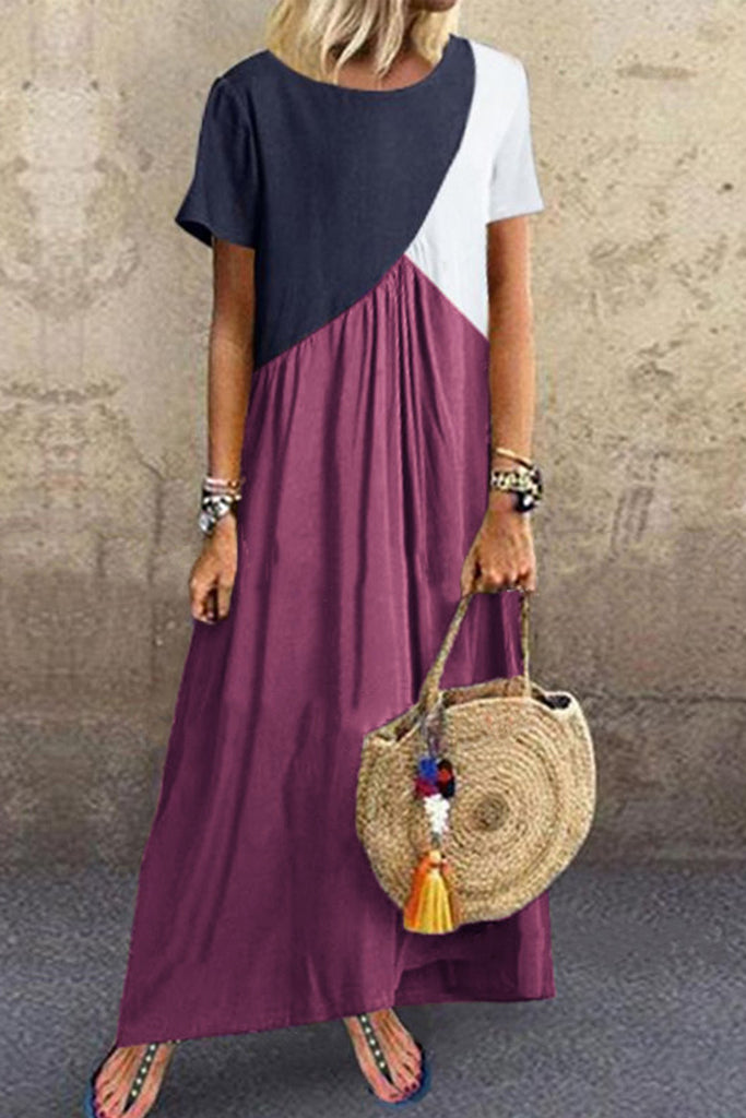 Plus Size Color Block Short Sleeve Maxi Dress