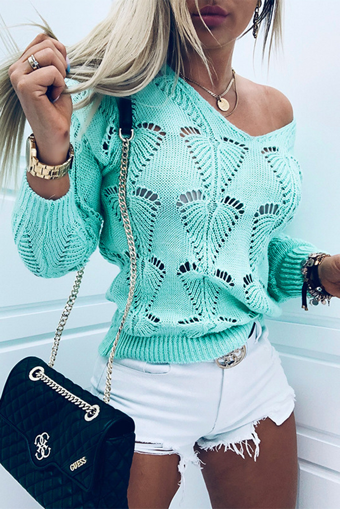Hollow Out V-Neck Knitted Sweater