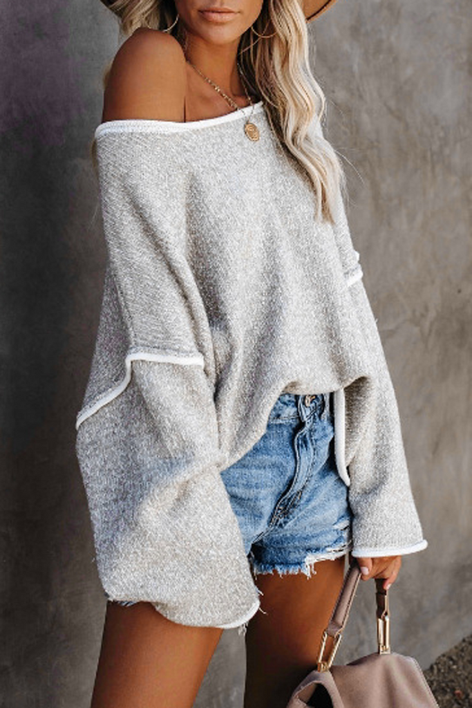 Patchwork Solid Casual Sweater