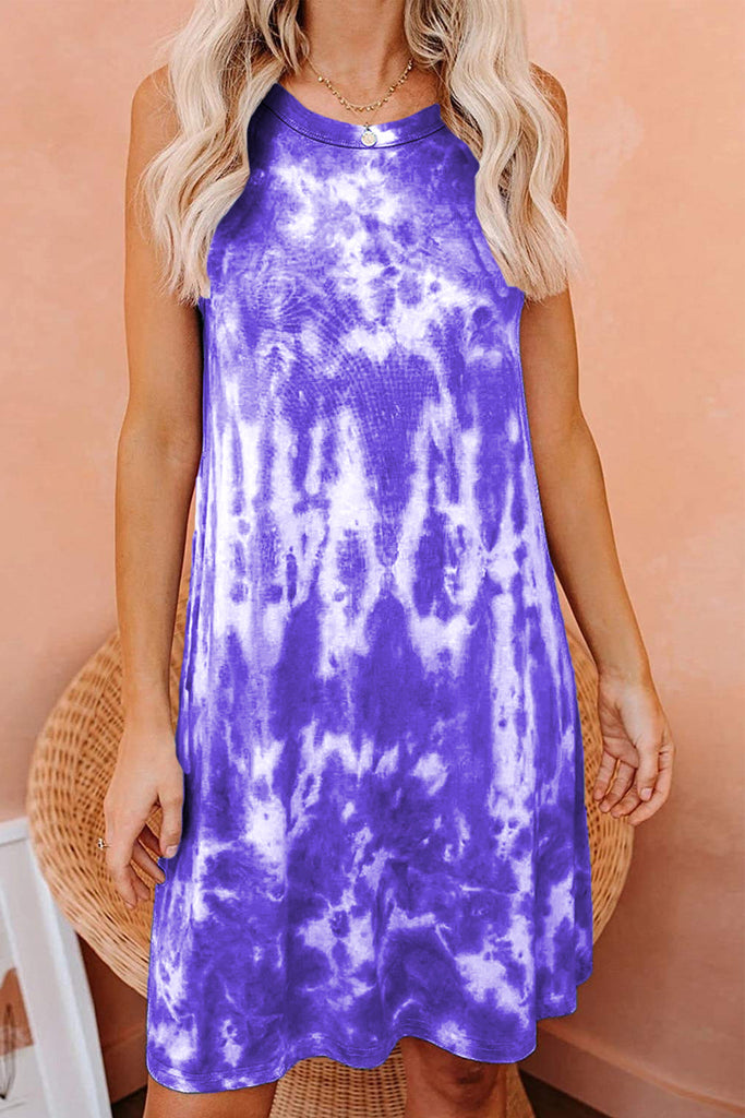 Round Neck Tie Dye Sleeveless Mini Dress