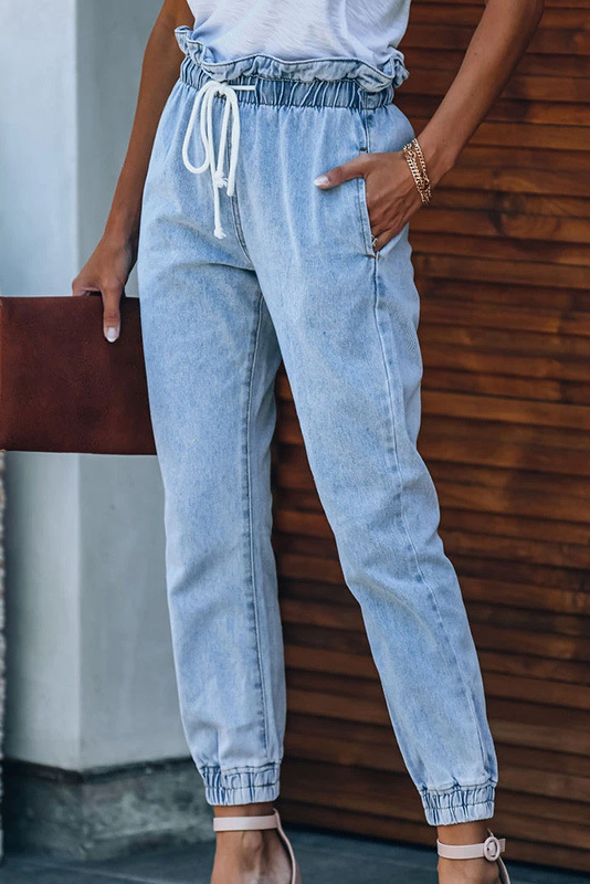 High Waist Drawstring Denim Pants
