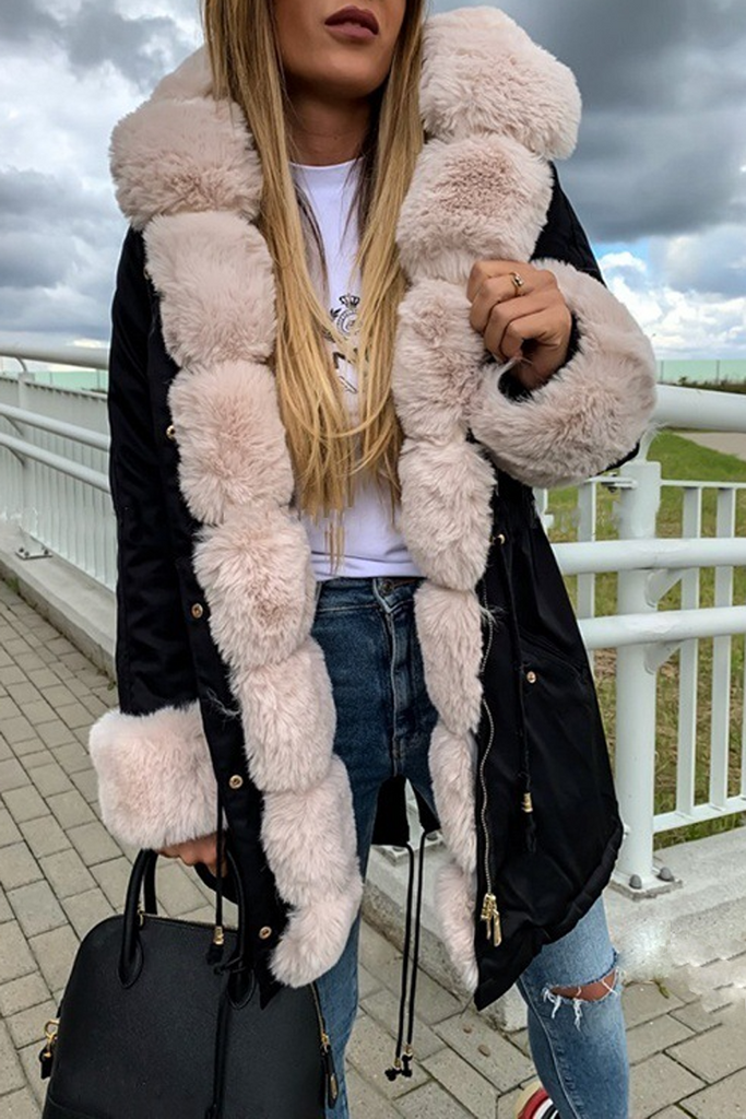 Drawstring Waist Fur Collar Fluffy Hooded Coat