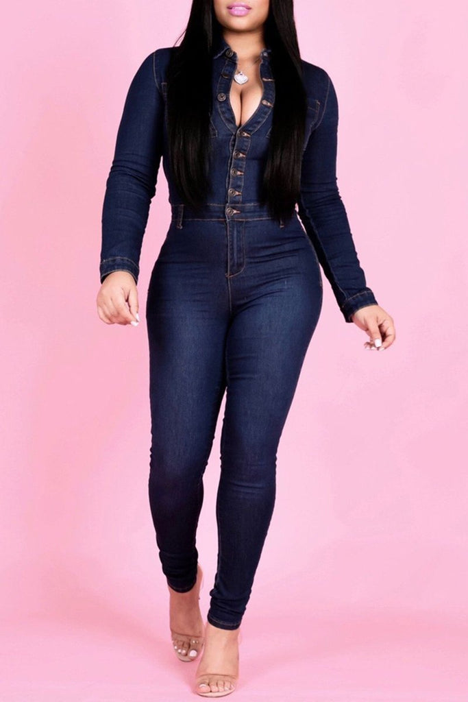Plus Size Denim Button Up Long Sleeve Jumpsuit