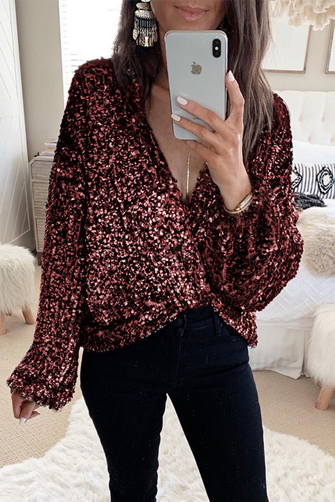 Sequin Stitching Wrap Blouse