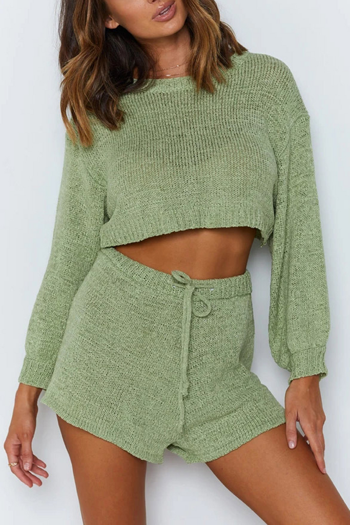 Solid Lace-Up Knit Two Pieces Sets