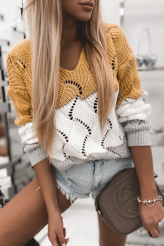 Contrast Color V-Neck Hollow Out Sweater