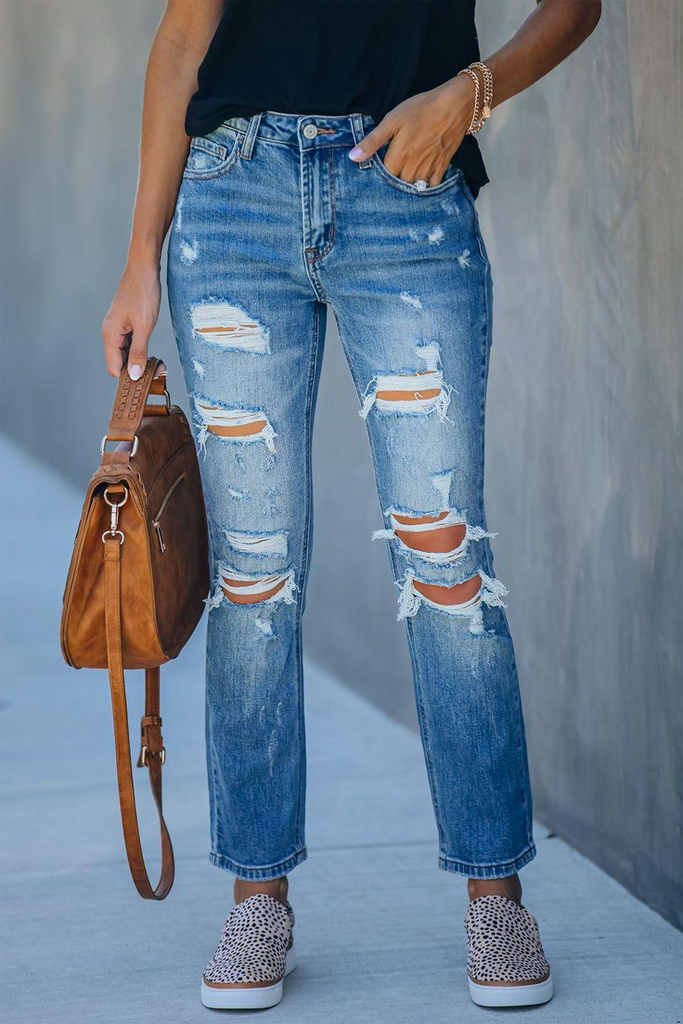 Denim Mid-Rise Hole Ripped Pants