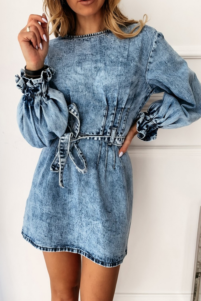 Pleated Lace-Up Denim Mini Dress