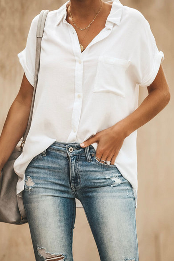 Solid Lapel Short Sleeve Blouse