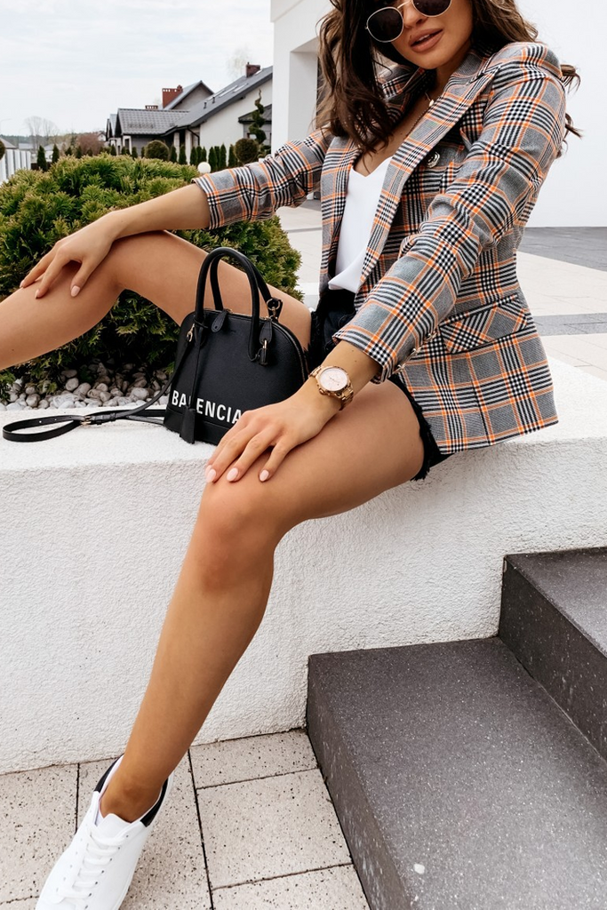 Plaid Print Slim Blazer