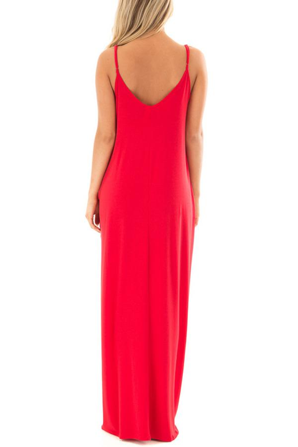 Sleeveless Solid Color Round Neck Pocket Maxi Dress