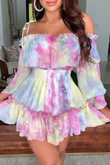 Rainbow Off The Shoulder Suspenders Dress