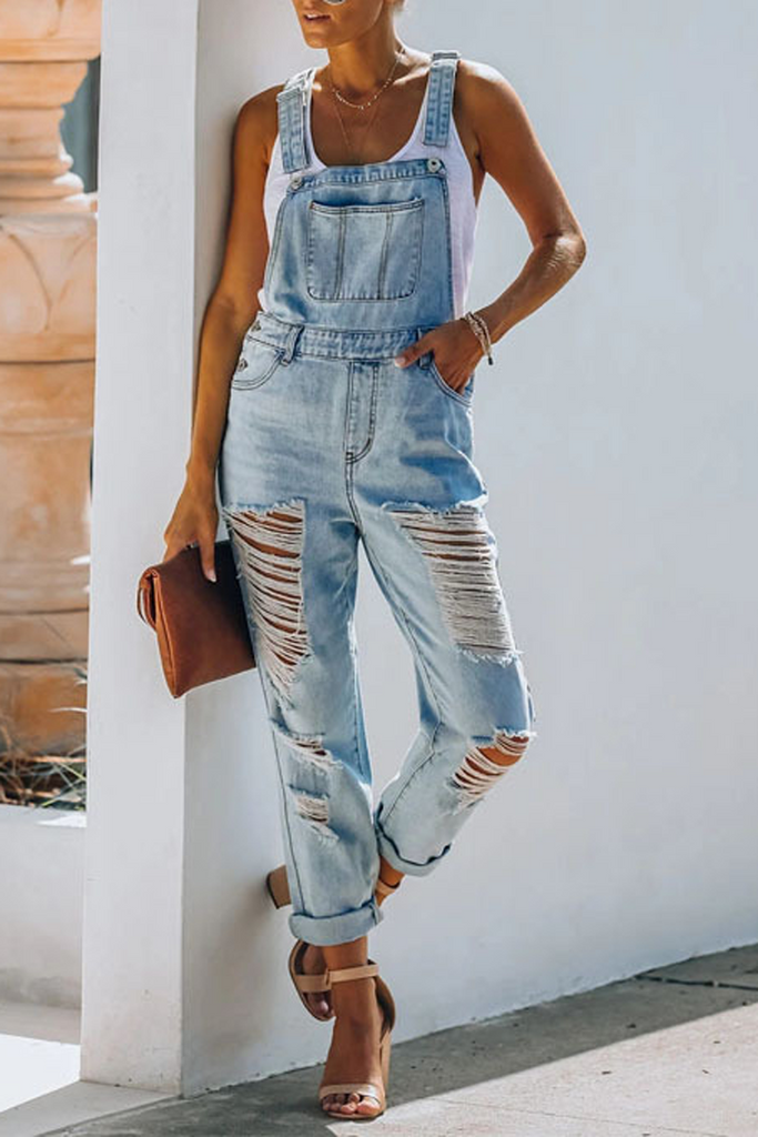 Denim Hole Distressed Overall