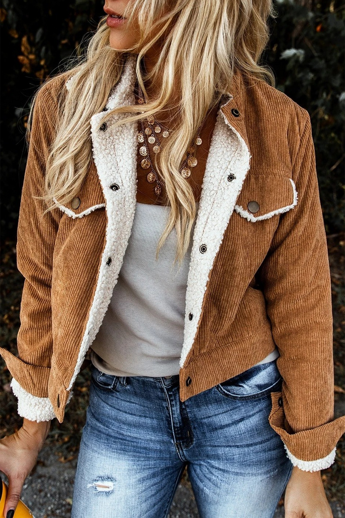 Corduroy Plush Lapel Coat
