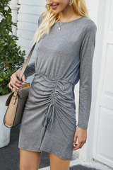 Long Sleeve Pleated Patchwork Dress
