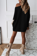 Christmas Skew Shoulder Mini Dress
