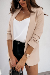 Solid Wide Lapel Double Pockets Blazer