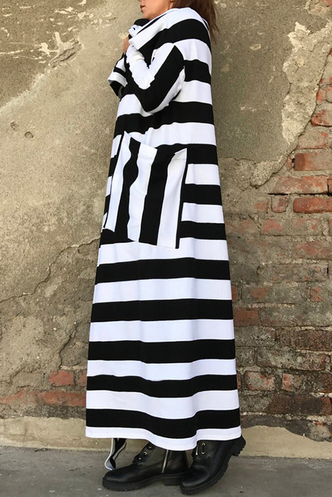 Striped Print Hooded Long Coat