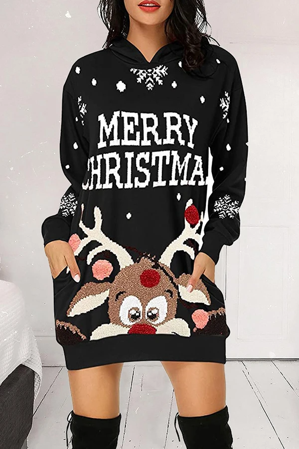Christmas Cartoon Print Hood Mini Dress
