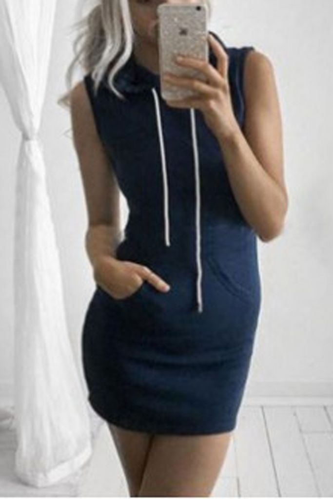 Sleeveless Pocket Hoodie Mini Dress