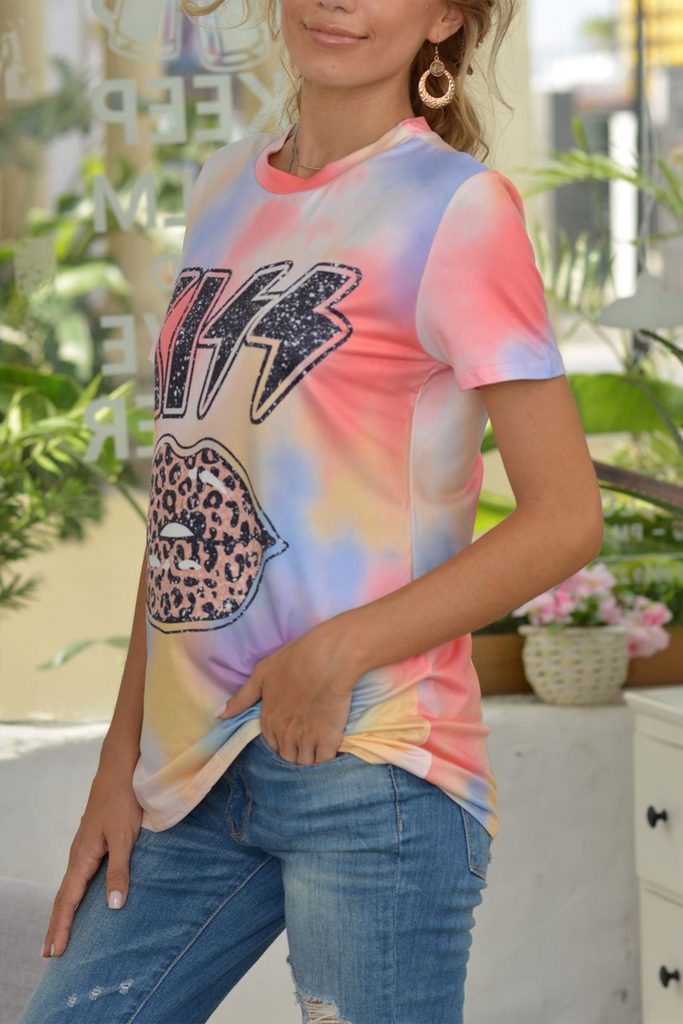 Multicolor Kiss Leopard Casual T-Shirt