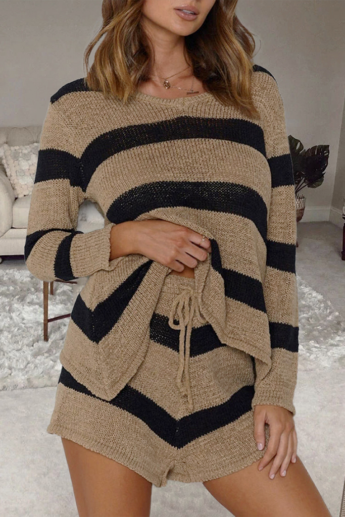 Striped V-Neck Knit Two Pieces Sets