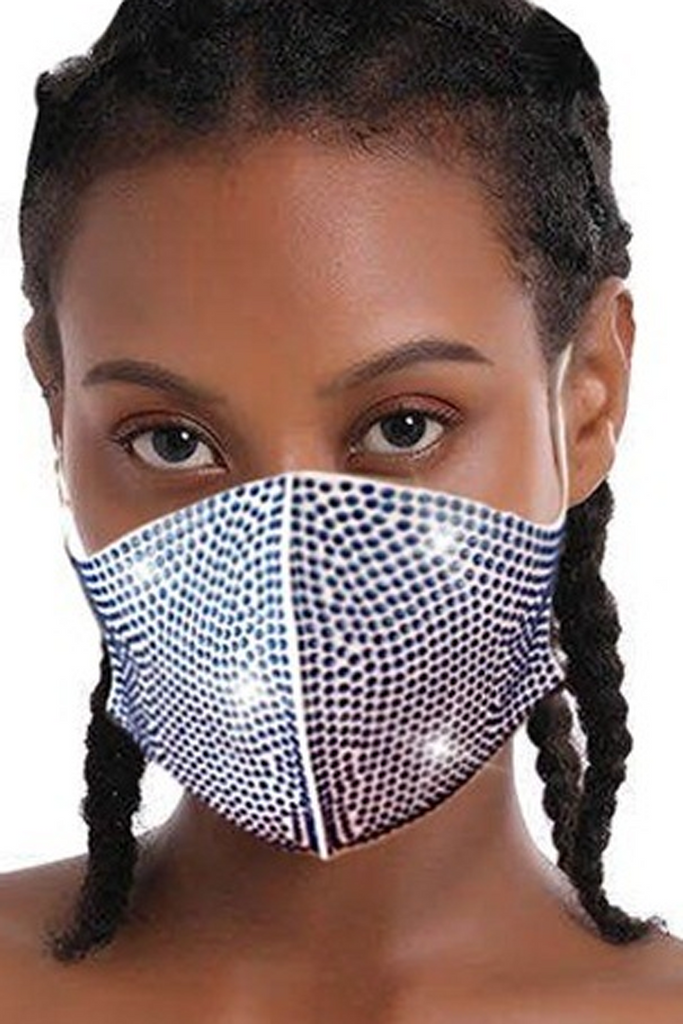 One Size Print Rhinestone Face Mask