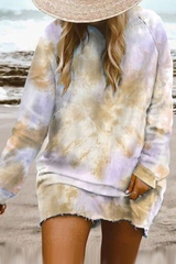 Tie Dye Multicolor Long Sleeve Mini Dress