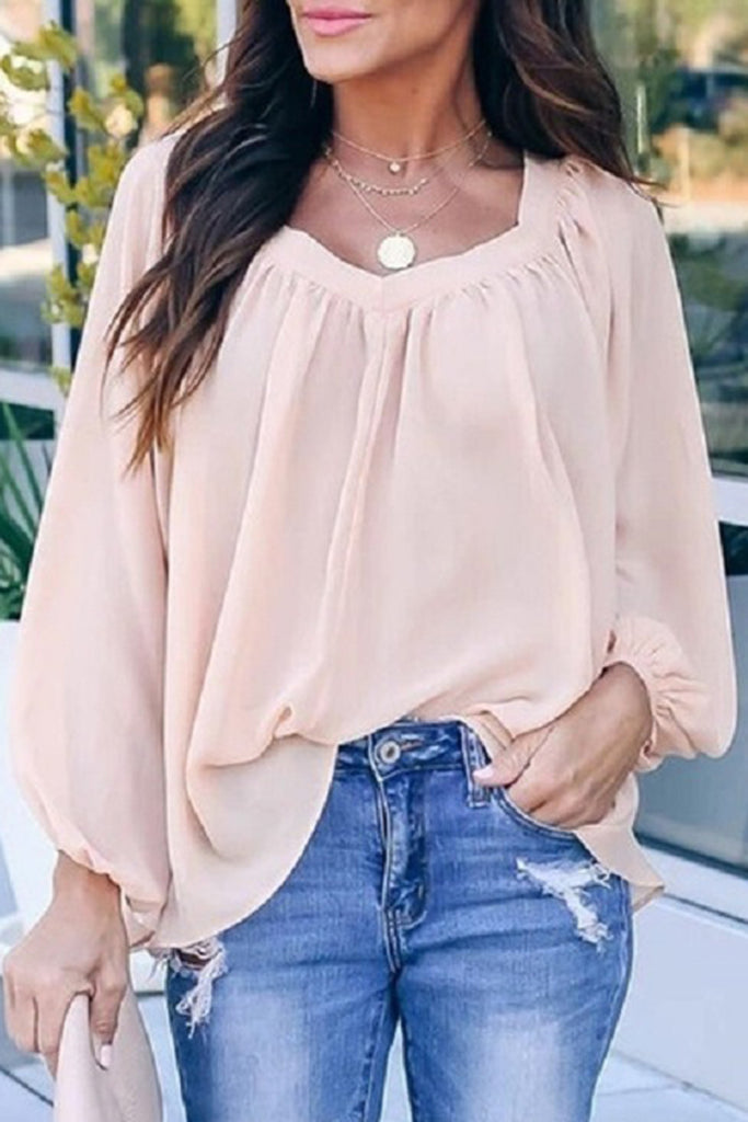 Plus Size Lantern Sleeve Bowknot Top