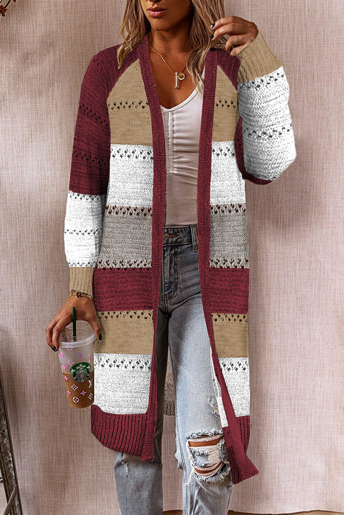 Mid-Length Color Patchwork Cardigan