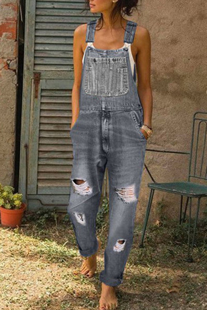 Denim Distressed Plus Size Solid Overall