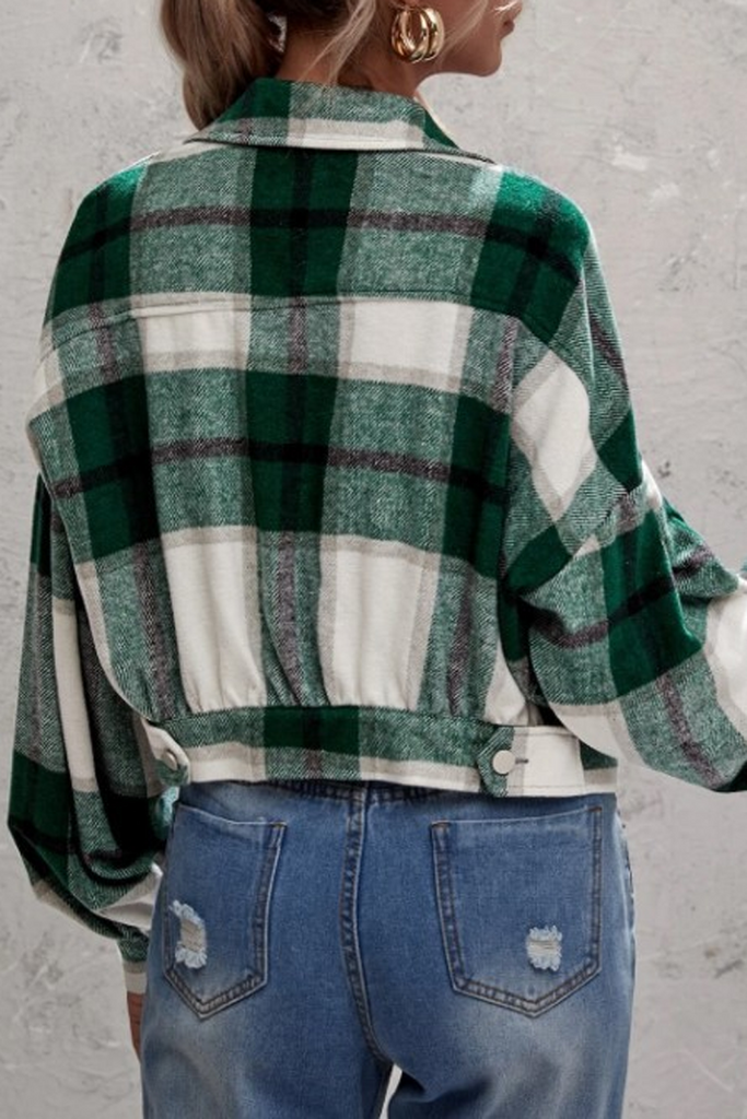 Plaid Print Blouse Coat
