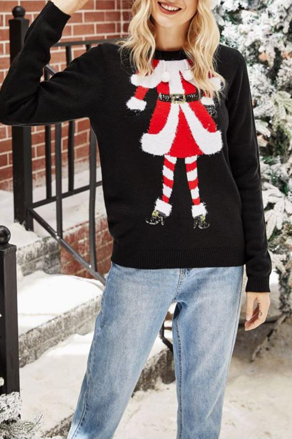 Christmas Embroidery Round Neck Sweater