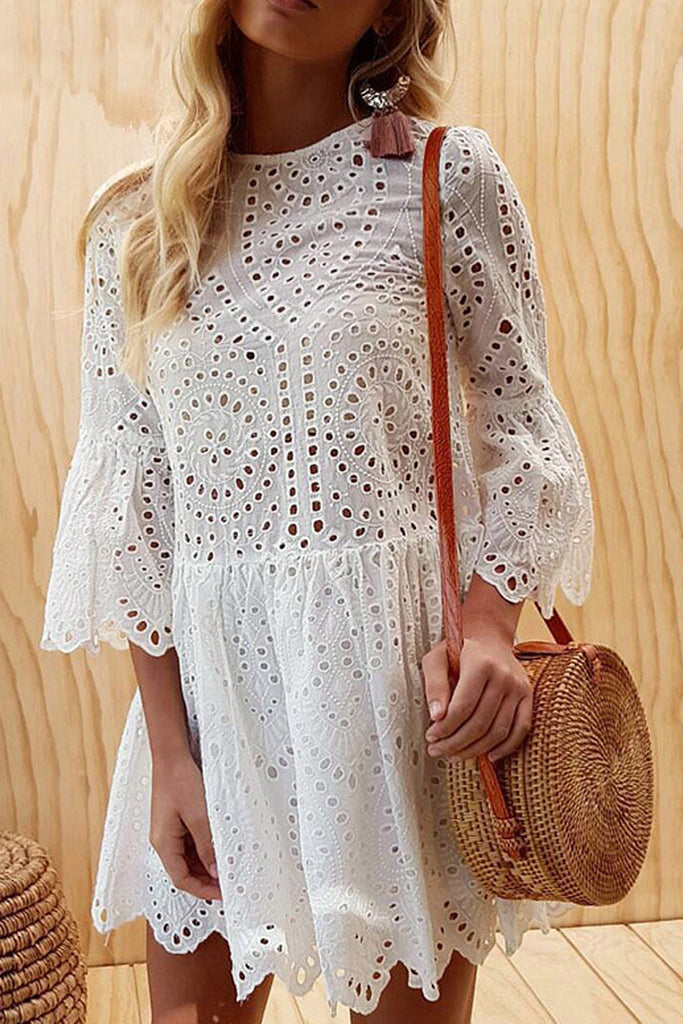 Solid Color Pierced Flared Sleeve Dress