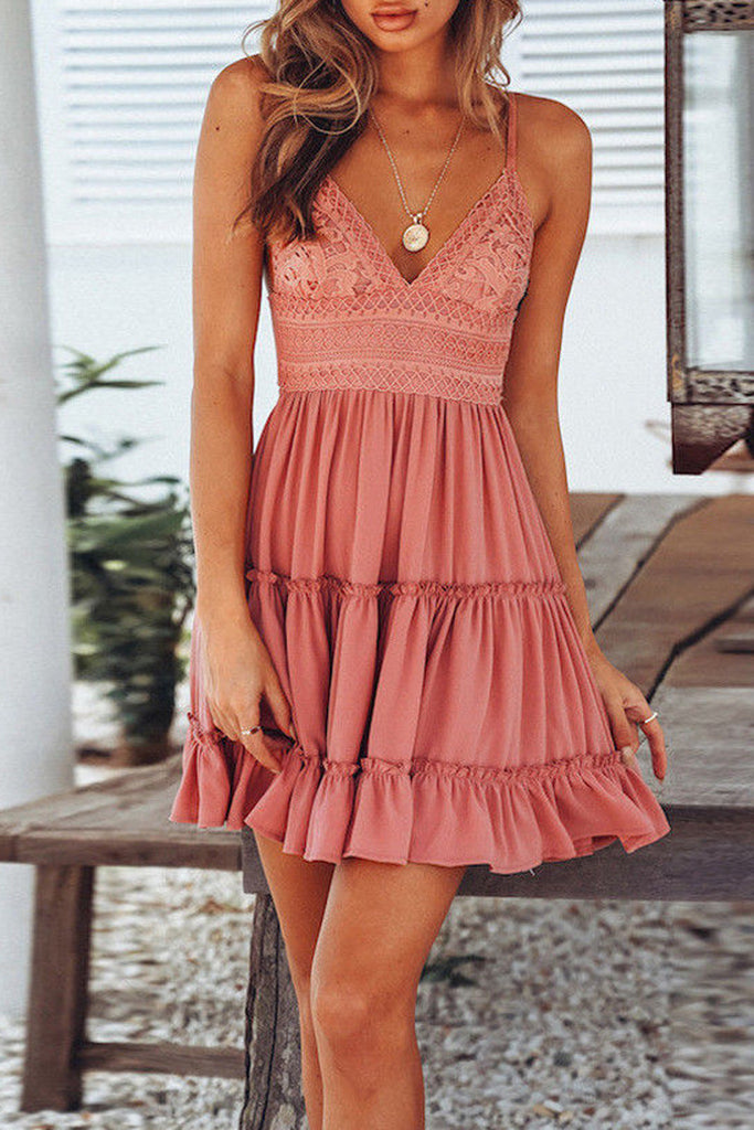 Halter Chiffon Lace Plus Size Mini Dress