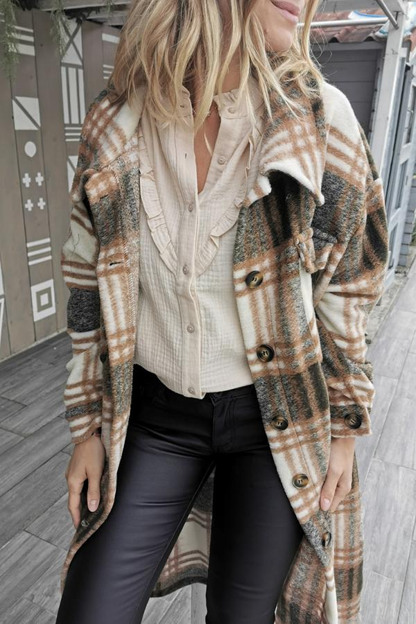 Calf-Length Long Sleeve Plaid Lapel Coat