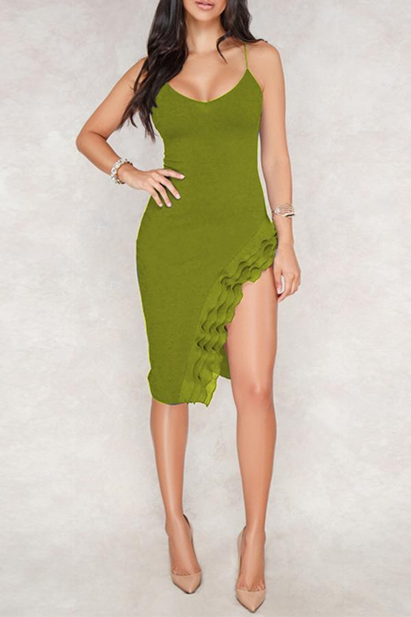 Solid Color Sleeveless Asymmetric Dress