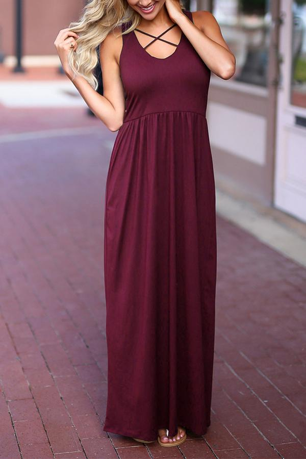 Round Neck Bandage High Waist Solid Color Maxi Dress