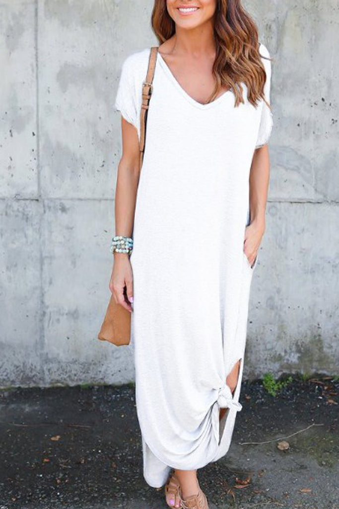 Solid Side Slit Pocket Maxi Dress