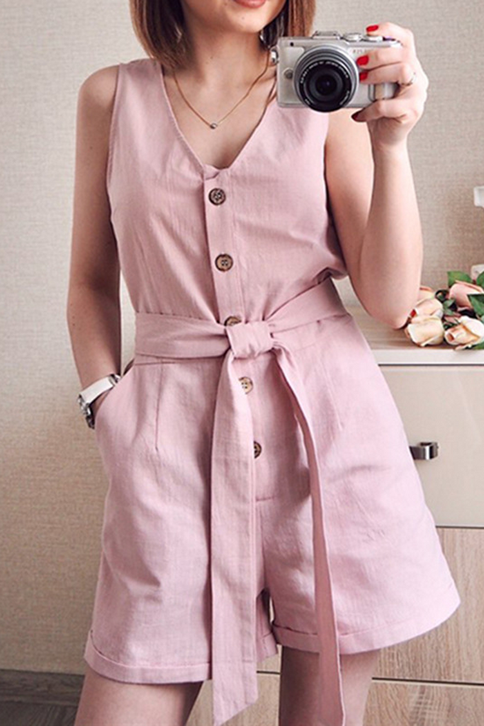 Plus Size Button Belt V-Neck Sleeveless Romper