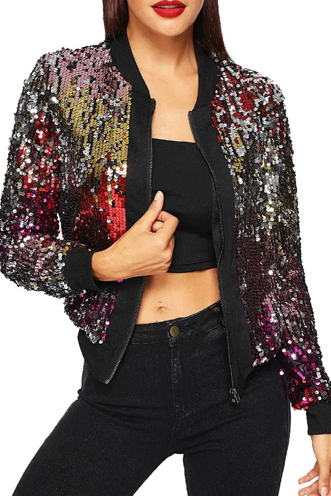 Long Sleeve Sparkly Sequined Jacket