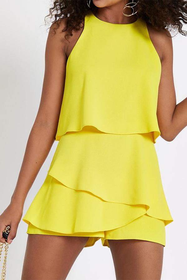 Chiffon Solid Color Flounced Sleeveless Casual Romper