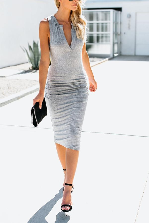 V-neck Sleeveless Casual Solid Color Midi Dress