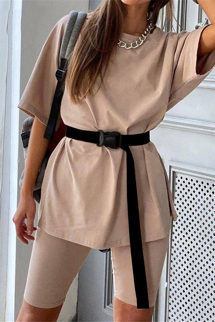 Solid Casual Sport Belted Two Pieces Sets
