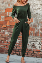 Back Lace-Up Pocket Jumpsuit