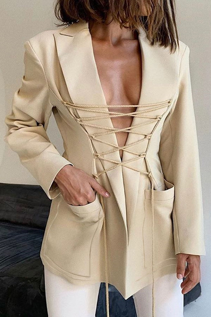 Solid Color Strapped Design Blazer