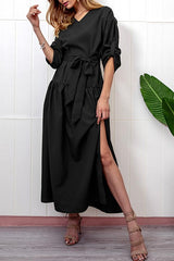 High Slit Solid Color Long Sleeve V Neck Maxi Dress